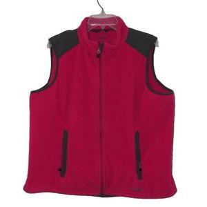 LL BEAN Fleece Vest XL Pink ZIP FRONT Pockets